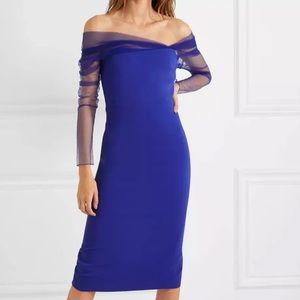 Cushnie et Ochs Blue Off Shoulder Tulle Dress 0